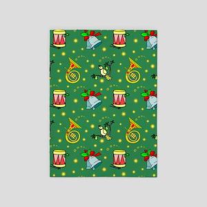 Christmas Horns Bells 5'x7'Area Rug