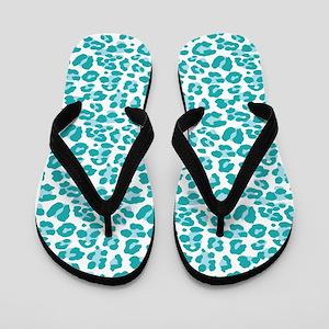 Blue Leopard Print Flip Flops