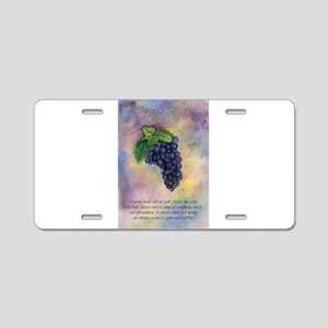 Pinot Noir Red Wine Grapes Art Aluminum License Pl