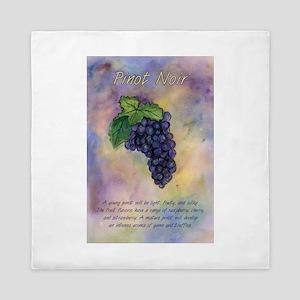 Pinot Noir Red Wine Grapes Art Queen Duvet