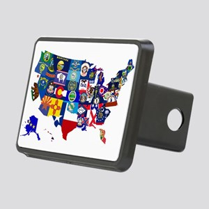 USA State Flags Map Hitch Cover