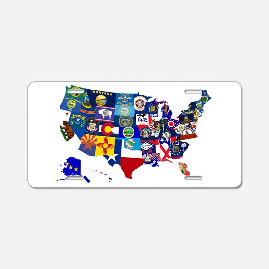USA State Flags Map Aluminum License Plate