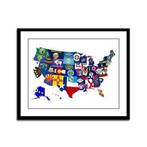 USA State Flags Map Framed Panel Print