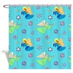 Angels in Blue, Snowflakes Shower Curtain