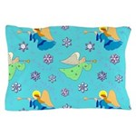 Angels in Blue, Snowflakes & Trumpets Pillow Case