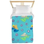 Angels in Blue, Snowflakes & Trumpets Twin Duvet