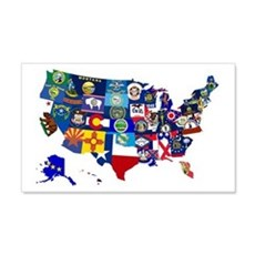 USA State Flags Map Wall Decal