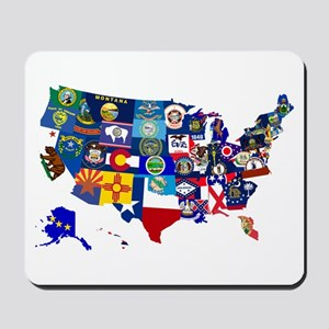 USA State Flags Map Mousepad