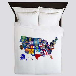USA State Flags Map Queen Duvet