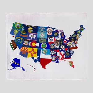 USA State Flags Map Throw Blanket