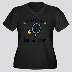 Tennis Star Women's Plus Size Dark V-Neck T-Shirt