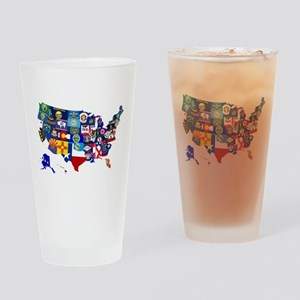 USA State Flags Map Drinking Glass
