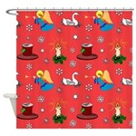 Christmas, Swans, Angels Shower Curtain