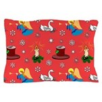 Christmas, Swans, Angels Pillow Case