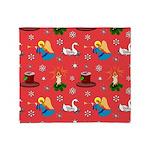 Christmas, Swans, Angels Throw Blanket