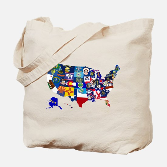 USA State Flags Map Tote Bag