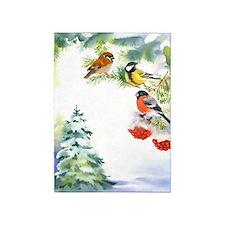 Watercolor Winter Birds 5'x7'area Rug