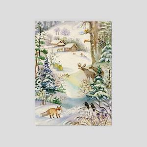 Watercolor Winter Wildlife 5'x7'area Rug