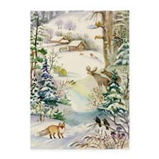 Watercolor Winter Wildlife 5'x7'area Rug