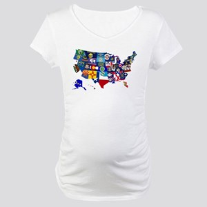 USA State Flags Map Maternity T-Shirt