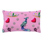Hearts & Peacocks Pillow Case