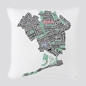 Queens New York Map Typography Woven Throw Pillow