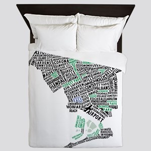 Queens New York Map Typography Queen Duvet