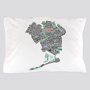 Queens New York Map Typography Pillow Case