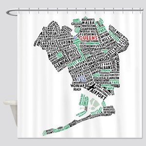 Queens New York Map Typography Shower Curtain