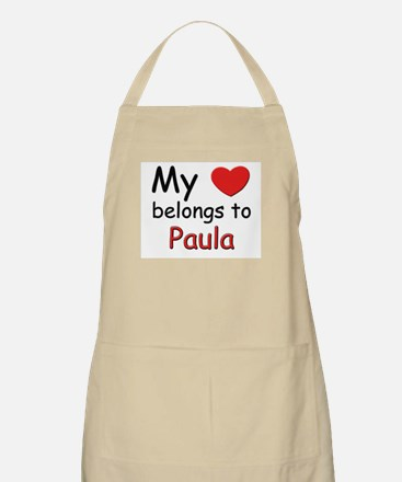 My heart belongs to paula BBQ Apron