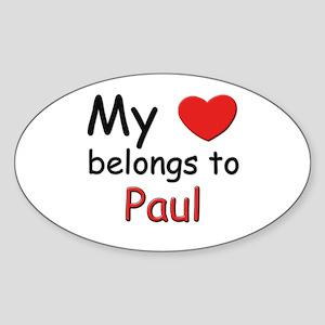 My heart belongs to paul Oval Sticker