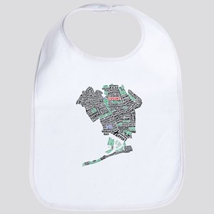 Queens New York Map Typography Bib