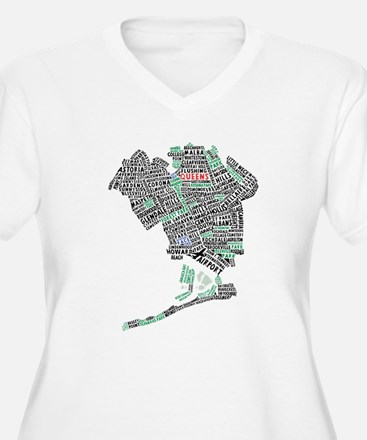 Queens New York Map Typography Plus Size T-Shirt