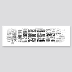 Queens New York Typography Bumper Sticker