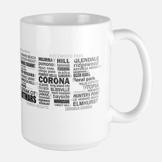 Queens New York Typography Mugs