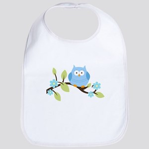 Blue Owl on a Branch Bib