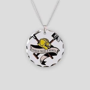 coal miner hat shovel spade  Necklace Circle Charm