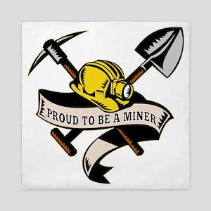 coal miner hat shovel spade pickax min Queen Duvet