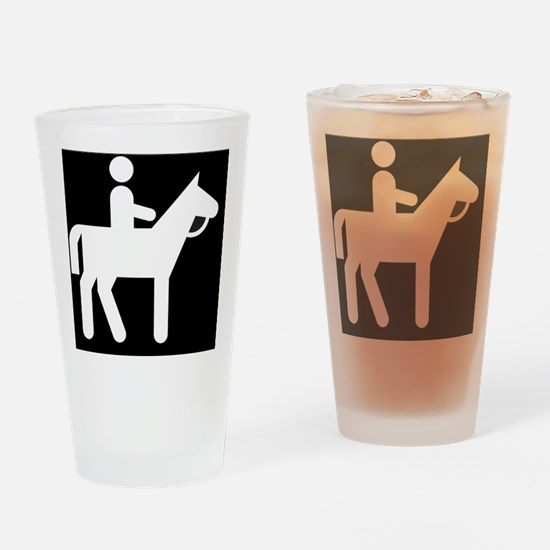 Horses Broke Black Drinking Glass