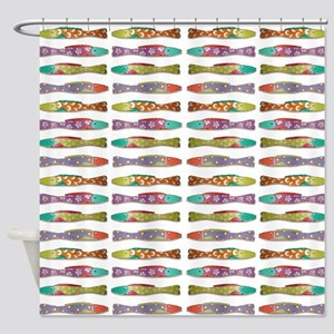 Retro fish Shower Curtain