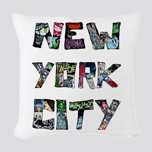 New York City Street Art Woven Throw Pillow