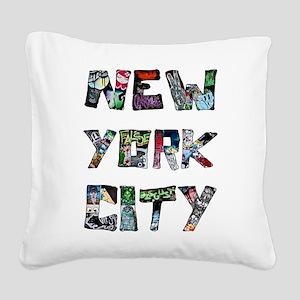 New York City Street Art Square Canvas Pillow