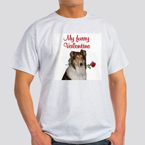 Furry Valentine Collie Ash Grey T-Shirt