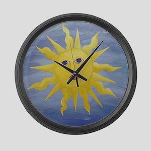 Whimsical Sun Large Wall Clock