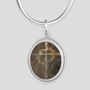 """Crux"" Cross Silver Oval Necklace"