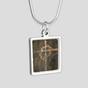 """""""Crux"""" Cross Silver Square Necklace"""
