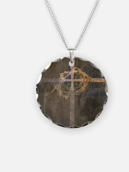 """Crux"" Cross Necklace Circle Charm"