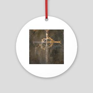 """Crux"" Cross Round Ornament"