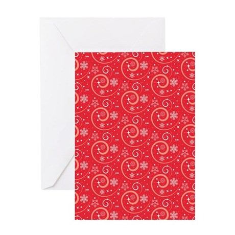 Red Snow Swirls Greeting Cards