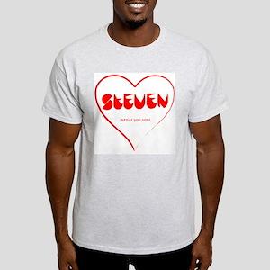 Steven red in a heart Ash Grey T-Shirt